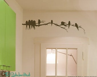 Flock of Birds on a Branch - Vinyl Lettering - Vinyl Decals - Home Decor Art - Over the Door Decor Vinyl Wall Art Graphic Sticker Decal 1324