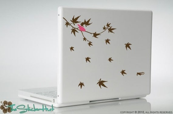 Maple Branch with Bird - Vinyl Lettering - Office Decor - Removeable - Home Decor - Vinyl Laptop Graphic Decals Stickers L05