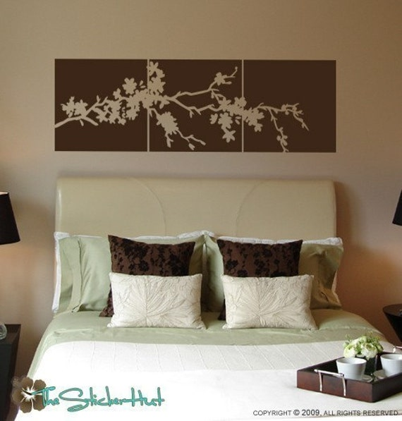 Cherry Blossom Flowering Branch Panel Block Tile Wall Art Graphics Lettering Decals Stickers 725
