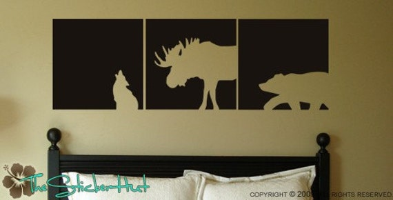 Wolf Moose Bear Block Squares Panels - Lodge Decor - Lodge Theme - Vinyl Decals - Wall Art Graphics Lettering Decals Stickers 719