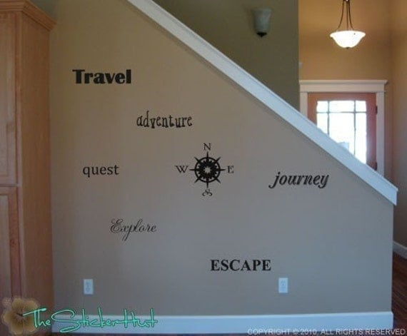 Compass Travel • Home Decor • Wall Lettering • Vinyl Lettering • Wall Decals • Vinyl Word Art Decals Stickers Lettering Quotes Text 790
