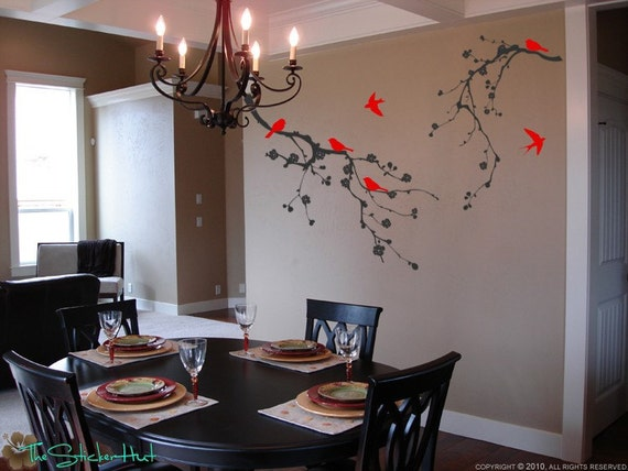 2 Cherry Blossom Branch with 6 Birds - Home Decor Decal Lettering - Home Decor Ideas - Vinyl Wall Art Graphics Decals Stickers 1033