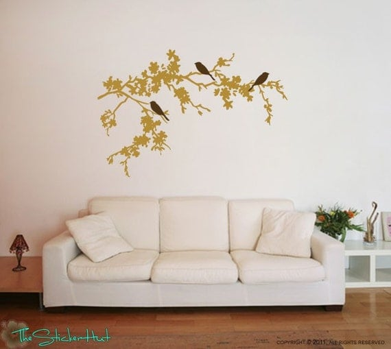 3 Birds on Flowering Branches - Home Decor - Family Removeable - Vinyl Lettering - Vinyl Wall Art Text Stickers Decals Graphics 722