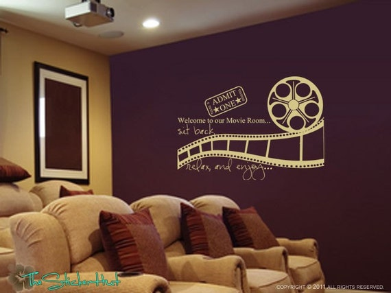 Welcome to Our Movie Room Sit Back Relax Enjoy • Vinyl Lettering • Theatre Room • Wall Art Graphics Lettering Decals Stickers 1080