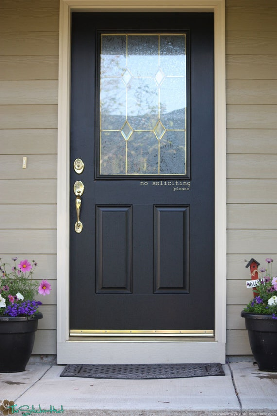 Items similar to no soliciting front door front porch or for Door vinyl design