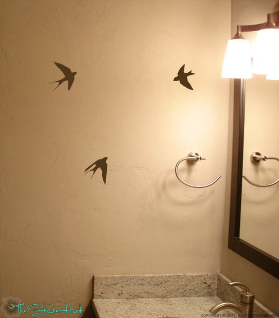3 Sparrows in Flight Flying Birds - Bird Decor - Home Decor - Vinyl Decals - Vinyl Stickers - Wall Art Graphics Decals Stickers 1230