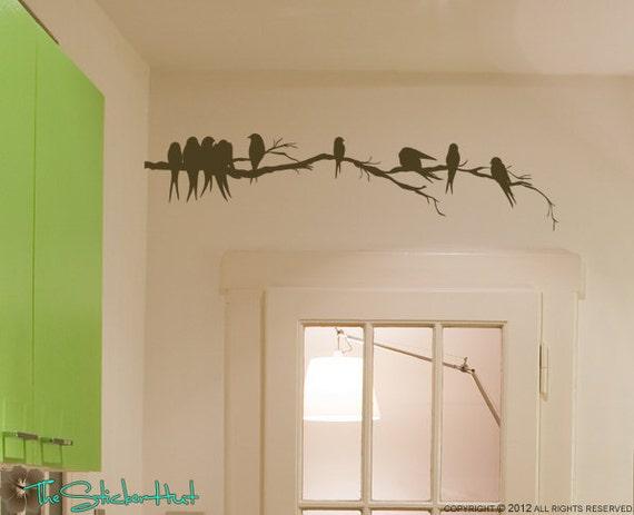 Flock of Birds on a Branch - Vinyl Lettering - Vinyl Decals - Home Decor Art - Over the Door Decor Vinyl Wall Art Graphic Sticker Decal 1324