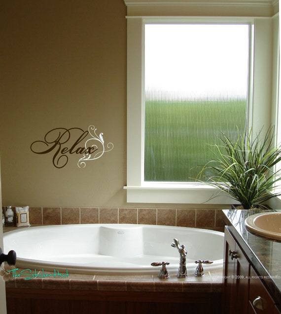 Bathroom Wall Art Relax : Relax with flourish bathroom wall decor word by thestickerhut