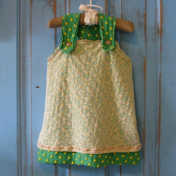 girly green and yellow dress 3-6 months