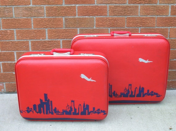 Red Detroit Luggage (On Hold for Krista)