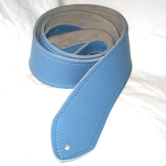 Sky Blue Soft Leather Guitar Strap