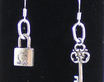 SALE - Dangle Charm Earrings - Lock and Key