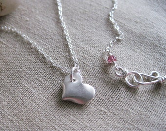 Tiny Heart Necklace PMC Fine Silver Heart Jewelry Valentine Jewelry Sterling Silver - Sweetheart