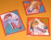 BORZOI Dog Art MAGNETS - set of 3 - Paintings by Lynn Culp