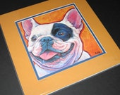 FRENCH BULLDOG 12x12 Signed Matted Art Print of Dog Painting by Lynn Culp