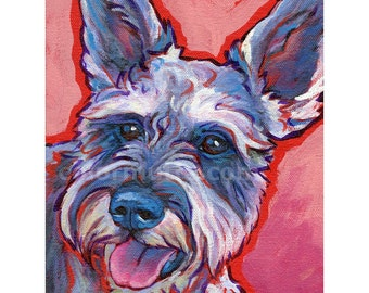 MINIATURE SCHNAUZER Dog Original Portrait Art Painting 6x8 by Lynn Culp
