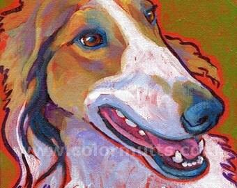 Borzoi Dog Portrait Original Art Painting on Canvas 6x6 by Lynn Culp