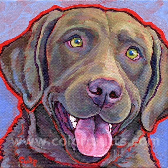 CHESAPEAKE Bay Retriever Dog Original Art Painting on 8x8 canvas by Lynn Culp
