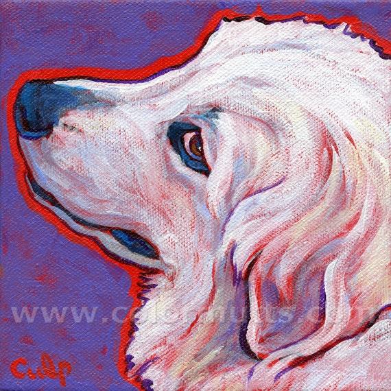 Colorful GREAT PYRENEES Dog Portrait Original Art Painting 6x6 by Lynn Culp