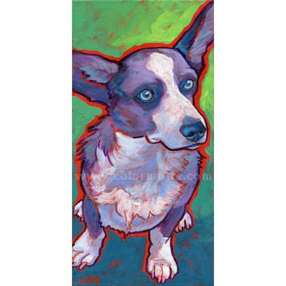 CARDIGAN WELSH CORGI Dog Original Art Painting 6x12 by Lynn Culp