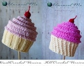 PDF Crochet Pattern and Crochet/Knit pattern - Baby Cakes Cupcake Hat - Two versions in one