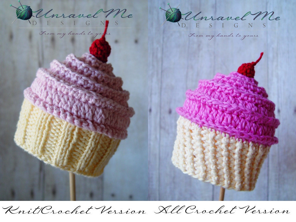 Free crochet pattern for cupcake hat manet for pdf crochet pattern and crochetknit pattern baby cakes bankloansurffo Image collections