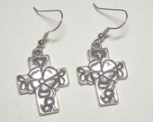 Silver Cross Hail Mary Prayer Earrings
