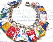 Dr.Suess Book Charm Bracelet-story,teacher,library,ooak
