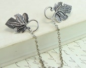 Leaf Sweater Clips - Antique Silver Grape Leaf