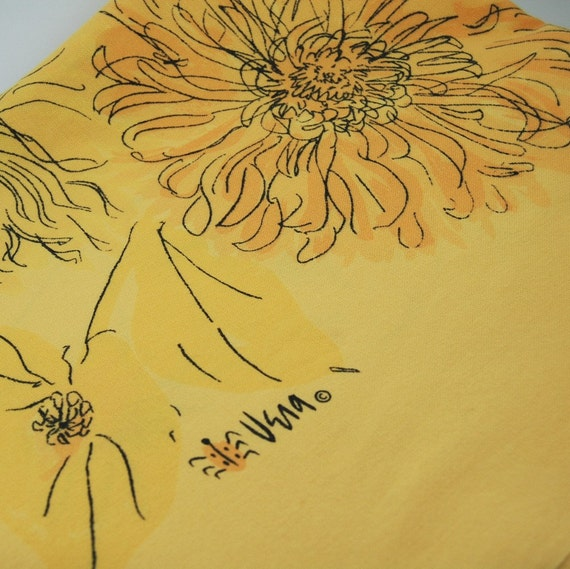 Yellow Floral Vintage Vera Rectangle Tablecloth with Lucky Ladybug