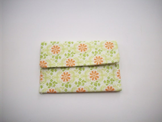 Orange Daisies or Bright Leaf Waves Card Case You Choose One