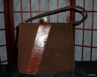 Vintage 1960s 60s Brown Velvet Purse Handbag Faux Snake Mad Men