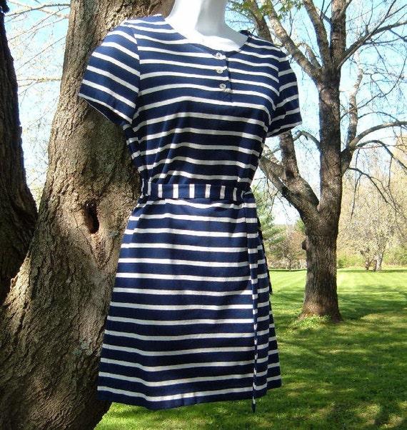 Vintage 60s Bobbie Brooks Blue and White Nautical Striped Mini Dress with Belt S Like new
