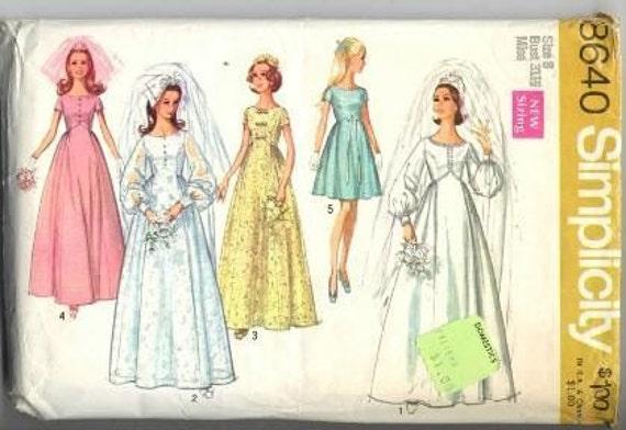 Vintage Simplicity 1969 Wedding Dress Pattern 8640 Size 8 S