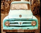 Teal kitchen art laundry room print rustic rusted truck photography, wall hanging, wall art, car print, turquoise decor, vintage home decor