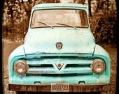 Teal Decor, Turquoise Art, Rustic Decor Vintage Auto Americana Wall Art Fine Art Photography Rust Teal Truck, Large Art, Blue Kitchen Art