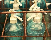 Paris Photography, Vintage Glass, Wall Decor, Teal Kitchen Art, France - Aqua Blue, French Market, Country Cottage - Color Photograph