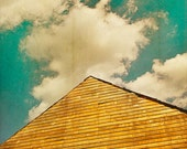 Rustic Home Decor, Clouds And Sky, Mint Decor, Turquoise Art, teal sky soft fluffy fall clouds - Fine Art Photography Print, Barn Decor