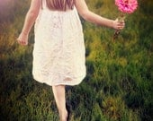 Whimsical photography girl portrait flower photograph pink daisy - The Farmer's Daughter - fine art photography - 8x10 photograph