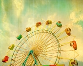 Carnival art, ferris wheel, large art, nursery decor, county fair, celery green sky fine art photography