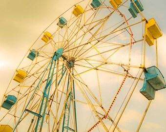 Ferris wheel photography - carnival prints - nursery decor - teal blue mustard yellow circus print, art for nursery, teal blue nursery
