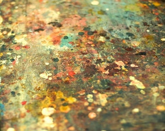 Fine Art Photography - Art Table - teal mustard red green paint splatter photograph artist's palette modern photography, color photo
