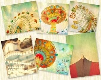 Carnival photography, nursery art, vintage carnival series, set of prints, nursery wall art - 6 Fine Art Carnival Photographs - 8x8 and 8x10