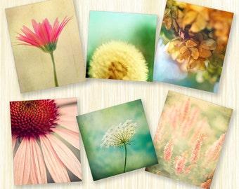 Spring photography flower prints Wall Art home decor garden prints nature photos pastel shades art photo botanical print set 6 5x5 5x7