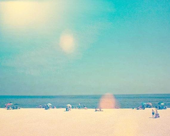 Ocean photography, beach photo, bathroom art, seaside print Jersey shore scene fine art photograph landscape - Shoot Into The Light