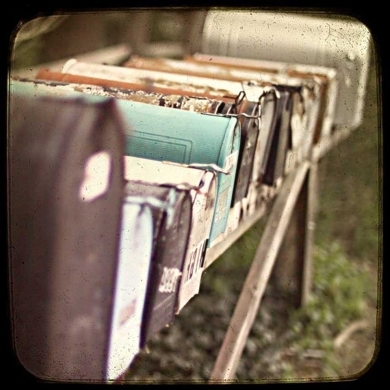 Mailbox photography, Urban Chic Home Decor Teal Decor, Rust shabby chic fine art photograph modern home decor
