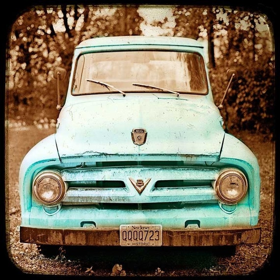 Teal Art, kitchen art, laundry room print, rustic decor, vintage truck print, car art, car print, turquoise decor, vintage home decor, teal