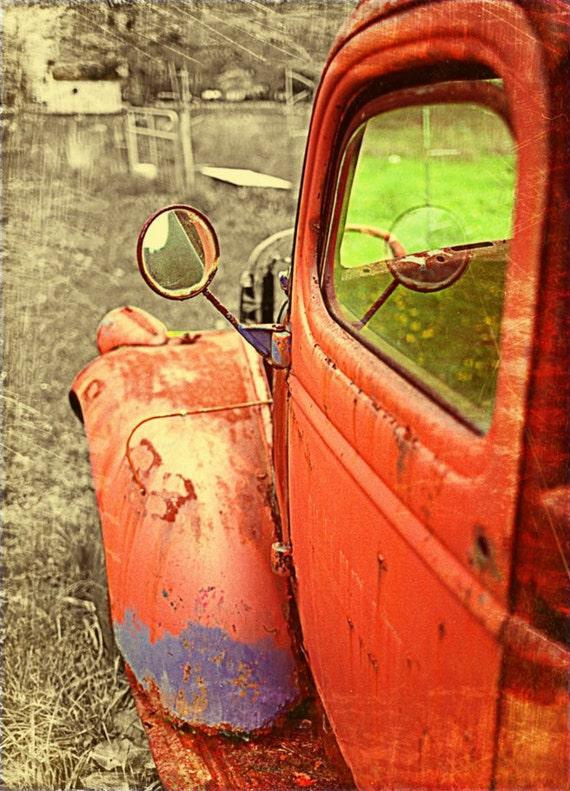 Fall photography, rustic decor, truck art, man cave, fall color, persimmon tango orange autumn rust vintage guy art, orange decor