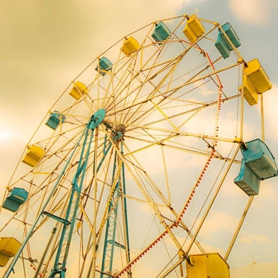 Ferris wheel photography - carnival prints - nursery decor - teal blue mustard yellow circus print, art for nursery, teal blue nursery