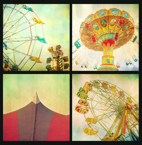 Midway carnival themed nursery art print set art for kids room circus photos kids room circus art carousel Ferris wheel - set of four